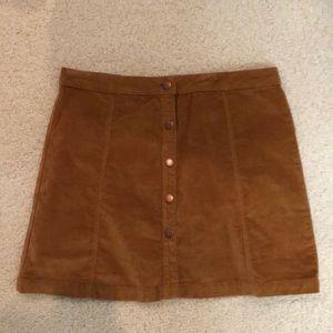brown button up skirt